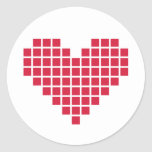 Corazón rojo del pixel etiqueta redonda
