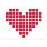 Corazón rojo del pixel postales