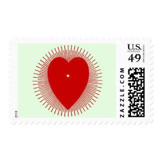 Corazón rojo del resplandor solar: arte gráfico sellos postales