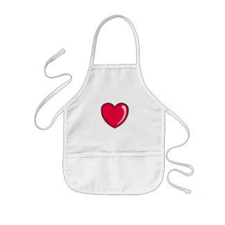 Corazón rojo delantal infantil