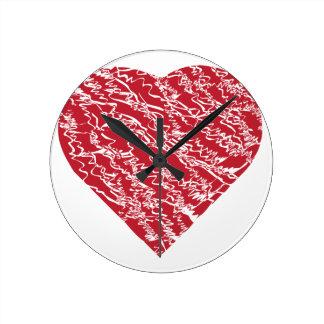 Corazón rojo dibujado mano 2 reloj redondo mediano
