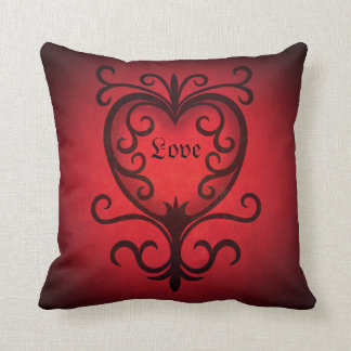 Corazón rojo elegante del amor del damasco cojin