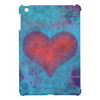 Corazón rojo en diseño azul del ipad