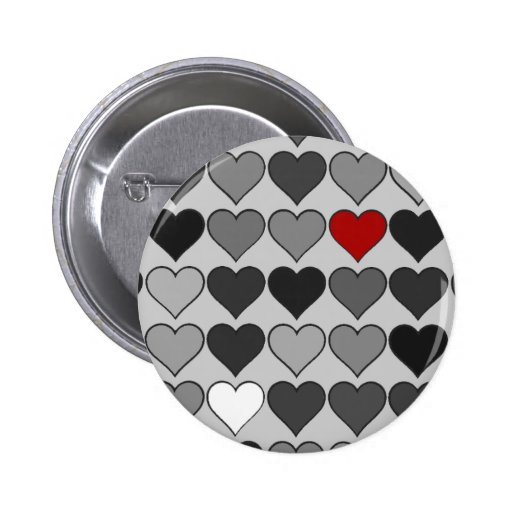 corazón rojo en la muchedumbre pin redondo 5 cm