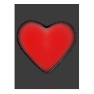 Corazón rojo en la postal gris