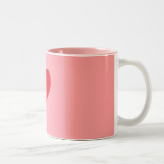 Corazón rojo en rosa taza de café de dos colores
