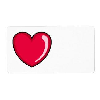 Corazón rojo etiqueta de envío