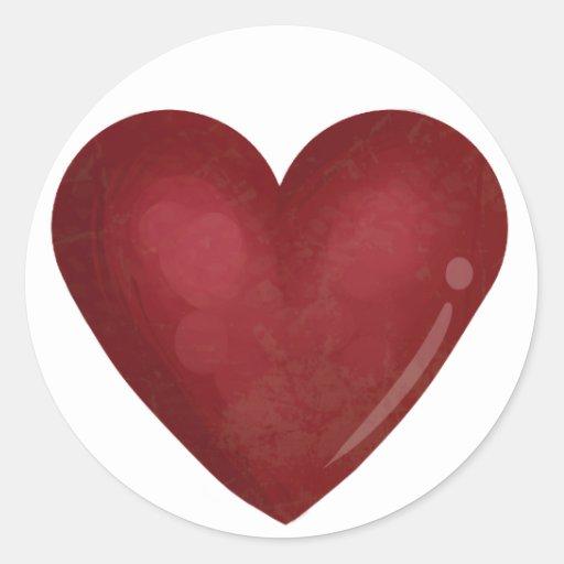 Corazón rojo etiquetas redondas