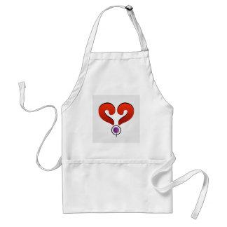 Corazón rojo formado por 2 signos de interrogación delantal