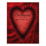 Corazón rojo gótico invitación 10,8 x 13,9 cm