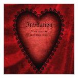 Corazón rojo gótico invitación 13,3 cm x 13,3cm