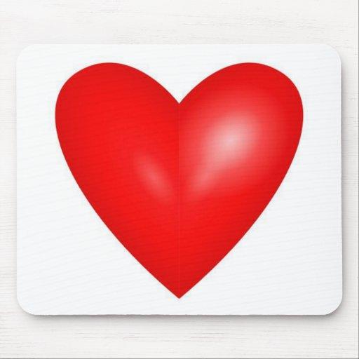 Corazón rojo grande de la tarjeta del día de San V Alfombrillas De Ratón