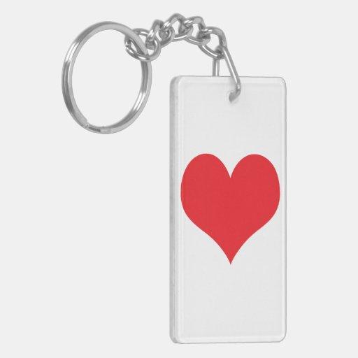 Corazón rojo grande del amor para el día de San Va Llaveros