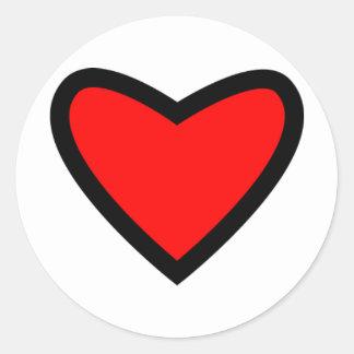 Corazón rojo grande etiqueta