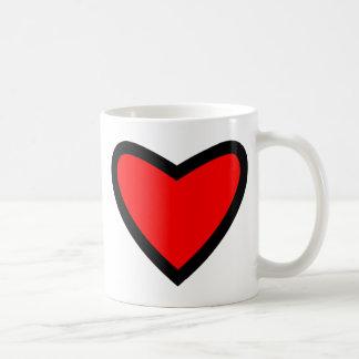 Corazón rojo grande taza básica blanca