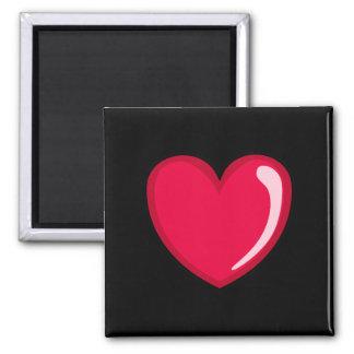 Corazón rojo imán cuadrado