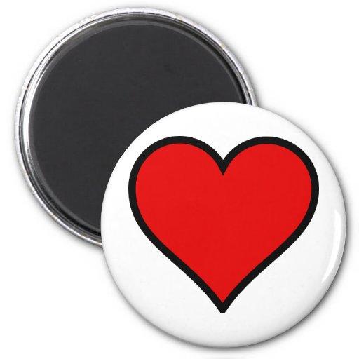 Corazón rojo imán de frigorifico