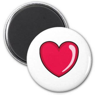 Corazón rojo imán redondo 5 cm