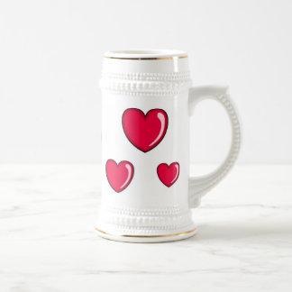 Corazón rojo jarra de cerveza
