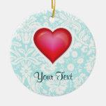 Corazón rojo lindo ornamentos de navidad