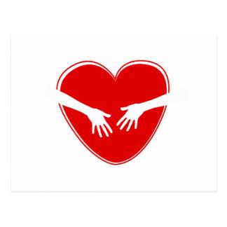 Corazón rojo lindo postal