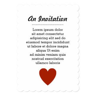 """Corazón rojo llano invitación 5"""" x 7"""""""