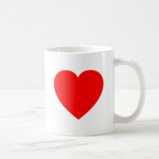 Corazón rojo llano taza clásica