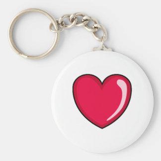 Corazón rojo llavero redondo tipo pin