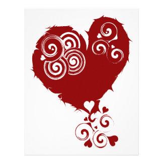 Corazón rojo loco de Swirly Membretes Personalizados