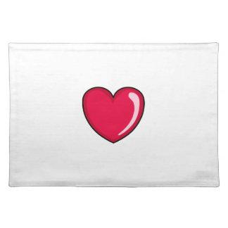 Corazón rojo mantel individual