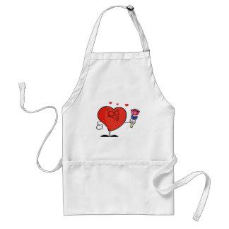 Corazón rojo masculino romántico que frunce sus la delantal