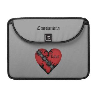 Corazón rojo medieval gótico romántico funda macbook pro