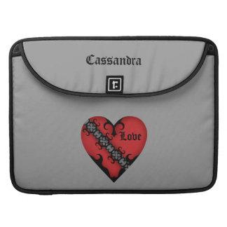 Corazón rojo medieval gótico romántico funda para macbooks