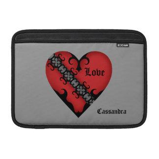 Corazón rojo medieval gótico romántico personaliza fundas macbook air