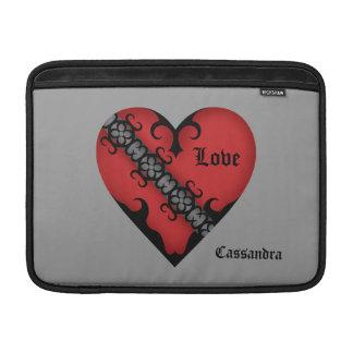 Corazón rojo medieval gótico romántico personaliza fundas MacBook