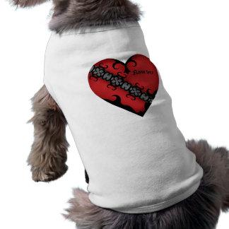 Corazón rojo medieval gótico romántico playera sin mangas para perro