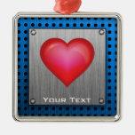 Corazón rojo; metal-mirada ornamento para arbol de navidad