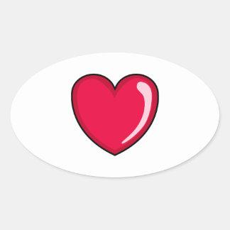 Corazón rojo pegatina ovalada