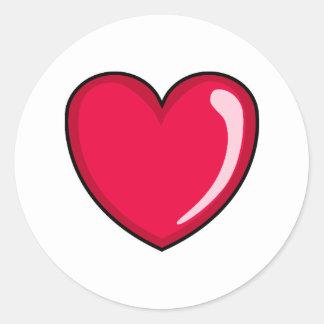 Corazón rojo pegatina redonda