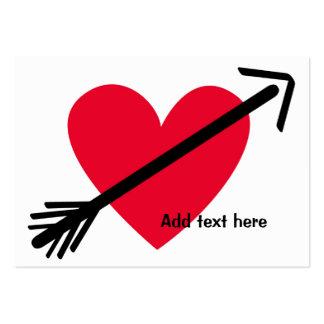 Corazón rojo personalizado con el día de San Tarjetas De Visita Grandes
