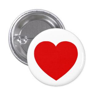 Corazón rojo pin redondo de 1 pulgada