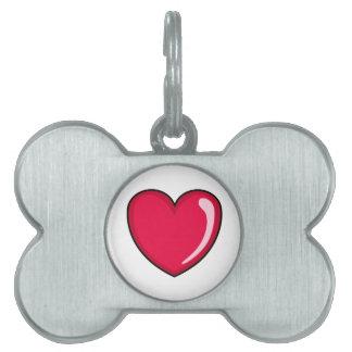 Corazón rojo placas de nombre de mascota