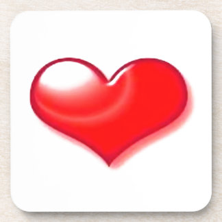 Corazón rojo posavasos de bebida