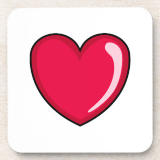 Corazón rojo posavasos de bebidas