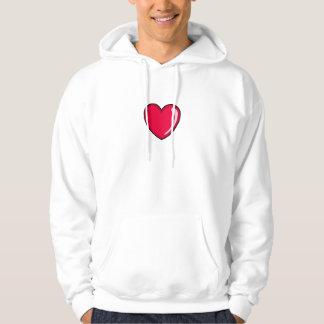 Corazón rojo pulóver con capucha