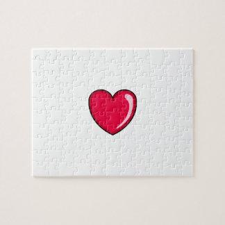 Corazón rojo puzzle con fotos