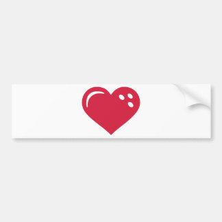 Corazón rojo que rueda pegatina de parachoque