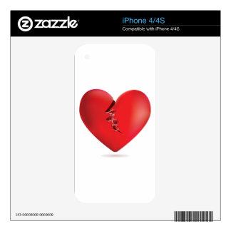 Corazón rojo quebrado iPhone 4 skin