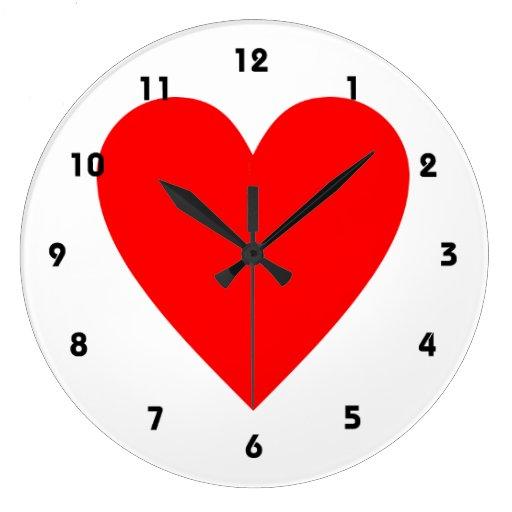 Corazón rojo reloj redondo grande