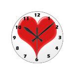Corazón rojo relojes de pared